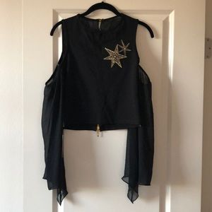 Dubai Stars Flowing Sleeved Party Blouse US M